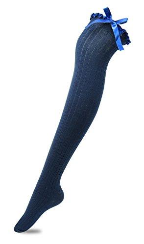 Overknee-Strümpfe mit Satinschleifen für Damen und Mädchen - Blau - 35-40 EU(Frau Schuh) | Unterwäsche & Reizwäsche > Strumpfhosen > Overknee Strümpfe | TOCONFFON