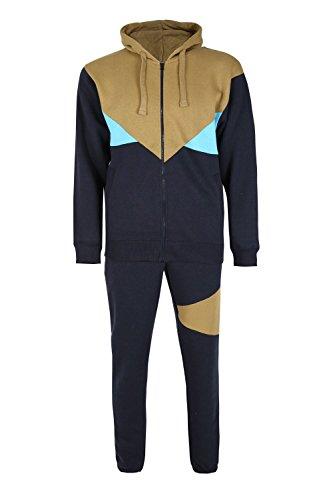 Be Jealous Herren Kontrast Fleece gestrickt lange Ärmel Hood Hoodies KapuzenjackeJogging-Unterteile Jog-Anzug Trainingsanzüge S-XL