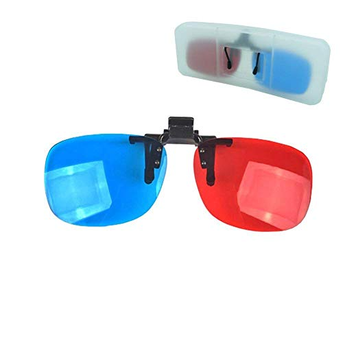 Red-blue/Cyan Anaglyph 3D Clip-on Glasses with Box Case Glasses for