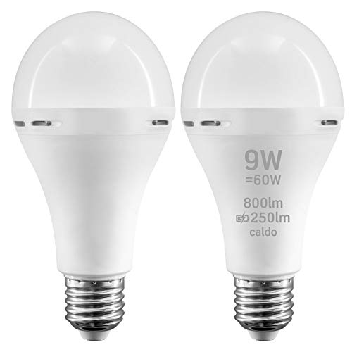 2x Lampadine LED Emergenza batteria E27 9W Professionali Garanzia 5 anni Funzione Torcia (800 lm pari a 60W) Goccia A70 Luce Bianco Caldo 3000K - Fascio Luminoso 200°