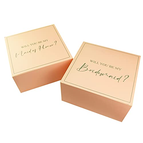 Bridesmaid Proposal Gift Boxes – 8 x 8 x 4 Inch 5 Pink Will You Be My Bridesmaid Proposal Boxes and 1 Will You Be My Maid of Honor Gift Box by AOODOOM