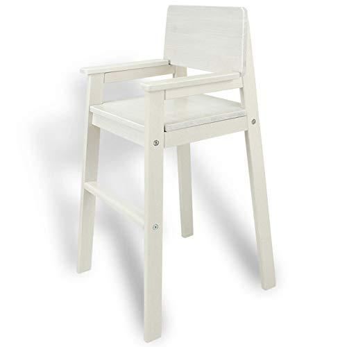 Kinderstoel hoge stoel massief hout wit gelazuurd. Modern design. Trapstoel beuken voor eettafel, kinderhoge stoel voor kinderen, stabiel en onderhoudsvriendelijk, vele kleuren mogelijk