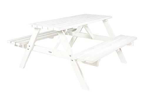 Picknicktisch weiß 150 cm, Holz, Picknickbank weiß, Trend aus Holland