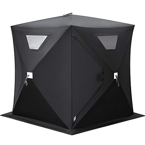 Happybuy Ice Shelter 2 Person Pop-up Portable Ice Fishing Shelter Top Insulated Ice Shelter Tent for Fishing Outdoor (Black)
