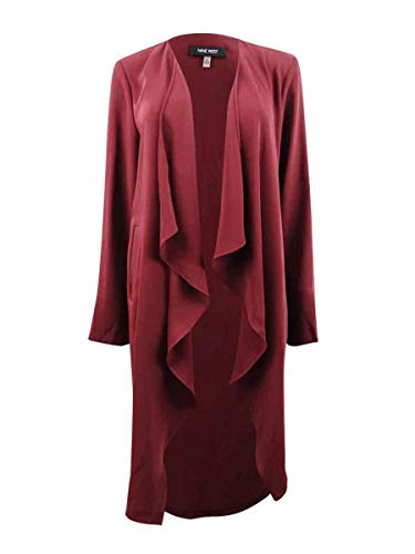NINE WEST Womens Plus Cascade Ruffle Flyaway Cardigan Top Red 1X