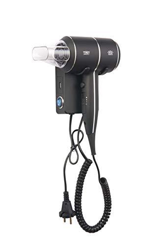 Secador de pelo QIANLI 1800-2000vatios con Iones y Thermo Protect Hotel con Soporte de pared y Toma USB Motor Silencioso de larga duración Cromado/Negro Mate