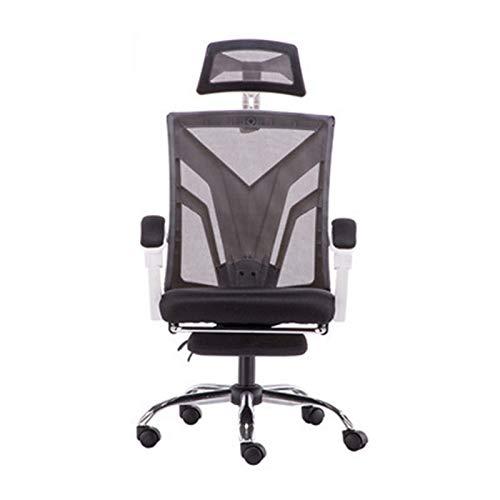 Wsaman Bürostuh, Gaming Stuhl Ergonomischer Schreibtischstuhl mit Fußstützen für Computer E-Sports Spielesessel,White+Black