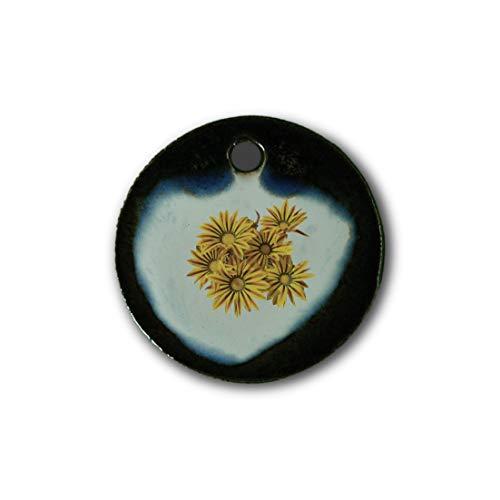 """Muy bonito colgante de cerámica """"Flor amarilla"""" jaspeado en marrón-azul-verde;"""