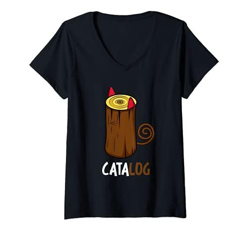 Mujer Catálogo del dueño del gato Camiseta Cuello V