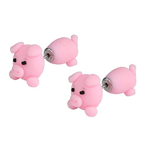 Wawogic Nette Tier Beißen Ohrring Cartoon Weichen Ton Tier Ohrringe, Mode Einfache Handgemachte Tier-Ohrstecker, 3D Cartoon Niedlichen Earing