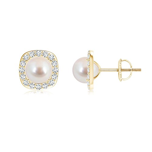 Pendientes de perlas cultivadas Akoya clásicas para mujer con halo de diamante