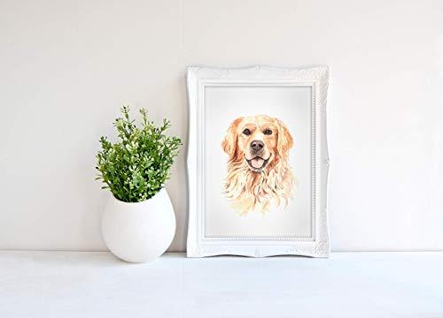 Kunstdruck - Golden Retriever - DIN A3, DIN A4 - MIT oder OHNE Weihnachtsmütze - Geschenk, Deko, Liebe, Freundschaft, Hund, Tierliebe