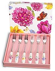 Elegant Life Forks Set, 6 Piece Dessert Forks Silverware Set, Herb Garden Ceramic Stainless Steel Forks Flatware, Tea Cake Salad Fruit Appetizer Forks Cutlery Set, Ideal Utensil Set Gift
