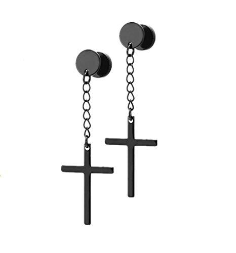 Religious Cross Drop Dangle Tassel Stud Earrings Set Stainless Steel Circle Screw Pierced Tunnel Gauges Ear Plug Studs Hanging Cross Earring for Men Women Boys