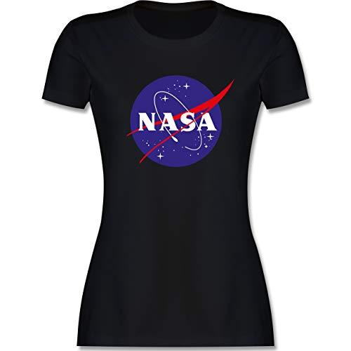 Sprüche Statement mit Spruch - NASA Meatball Logo - S - Schwarz - NASA Tshirt Damen weiß - L191 - Tailliertes Tshirt für Damen und Frauen T-Shirt