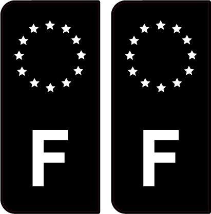 SAFIRMES 2 Stickers Plaque d'immat. Auto F France - Identifiant Européen - Noir & Blanc