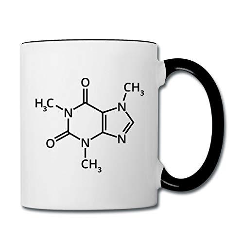 Kaffee Chemische Formel Koffein Tasse zweifarbig, Weiß/Schwarz