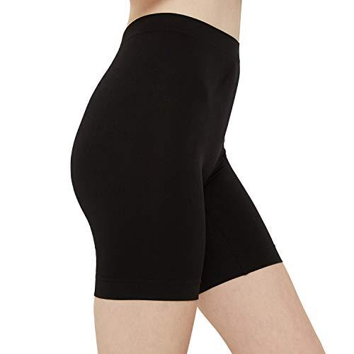 INNERSY Radlerhose Damen Nahtlos Leggings Kurz Sexy Shorts Schwarz Unterhosen 3er Pack (S, Schwarz)