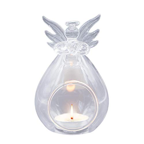 josietomy Glass Candlestick Candle Holder for Taper Candles, Praying Angel Candle Holder Design, Beautiful Look, Romantic for Wedding Party Table Decoration