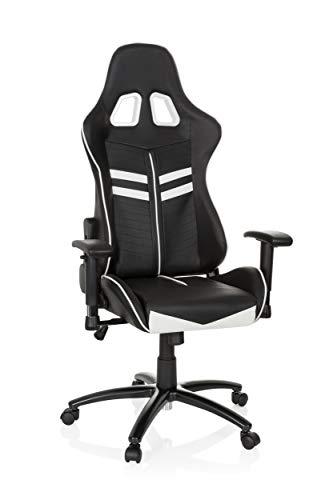 Chaise gaming/Chaise de bureau LEAGUE PRO simili cuir noir/blanc