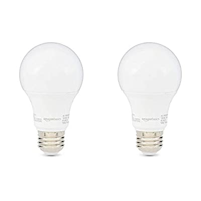 AmazonBasics 60W Equivalent, Daylight, Non-Dimmable, 10,000 Hour Lifetime, A19 LED Light Bulb | 2-Pack