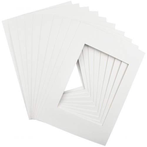 Passepartout Karton, 10 Stück Fotorahmen Passepartouts, A4 Bilderrahmen Karton für Foto Bildgröße 19,1 x 14 cm, Weiß