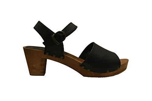 Sanita Enge Square Flex Sandale | Original handgemacht |Flexible Ledersandale für Damen, Größe: 42 EU, Schwarz