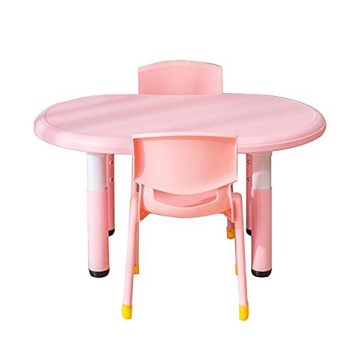 Juego de mesa y silla para niños, la altura de la mesa es ajustable, mesa y silla de estudio multifuncional para niños, escritorio cómodo con 2 sillas, para lectura, comida y juegos de 2 a 10 año