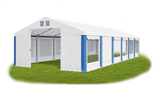 Das Company Partyzelt 6x12m Lagerzelt Universalzelt Moskitonetz Zelt weiß-blau Zelt 560g/m² PVC Plane wasserdicht Hochwertigeszelt Gartenzelt Pavillon Summer ISDM