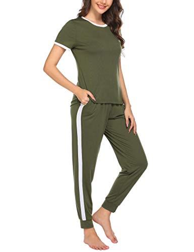 Ekouaer Women's Pajamas Set Short Sleeves Jogger PJ Sets Two Pieces Round Neck Loungewear Nightwear Sleepwear Army Green
