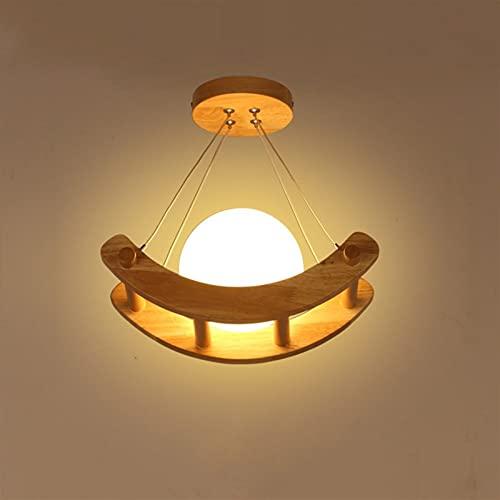 Minimalista Bola de vidrio Colgante Lightant Fistadure E27 Madera Lámpara de techo Rustic Village, Iluminación de interiores única Comedor Luz de Luz de Luz Ligera Luz Luz de Techo