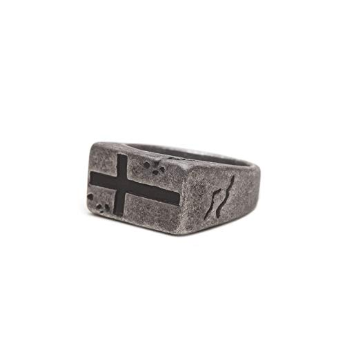 ZENGER Jewelry Theodore Ring - 12mm, Stainless Steel, Rustic, Statement, Cross (11)