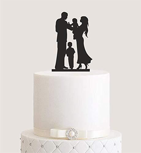 Manschin Laserdesign Cake Topper, Tortenstecker, Tortenfigur Acryl, Tortenständer Etagere Hochzeit Hochzeitstorte (Schwarz) Art.Nr. 5136