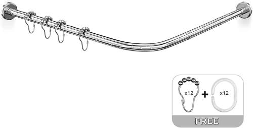 Miso&a Duschvorhangstangen L Form Ecke Halterung Ohne Bohren, 304 Edelstahl Duschvorhangwinkelstangen Badewanne Schiene, FüR Badezimmer, KüChe, Umkleidekabine. (70-100 x 110-170 cm)