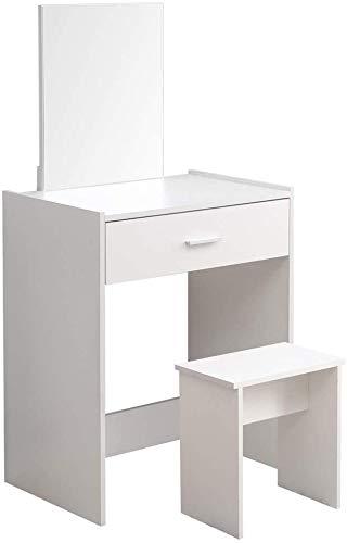 High-End-Holz-Kommode mit Spiegel und Hocker, robust genug für alle Ihre Schlafzimmer,WhiteA