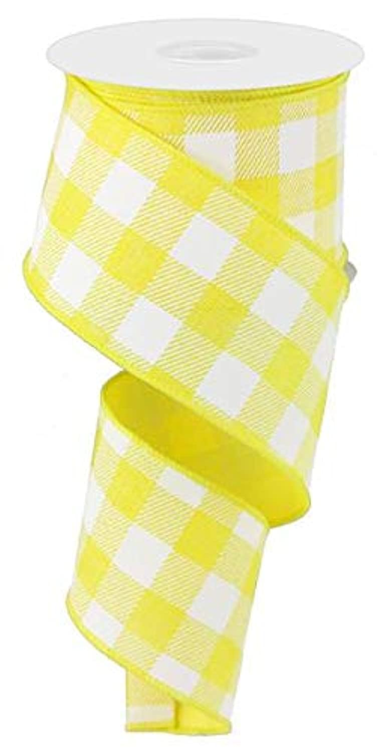 Plaid Check Wired Edge Ribbon - 10 Yards (Yellow, White, 2.5