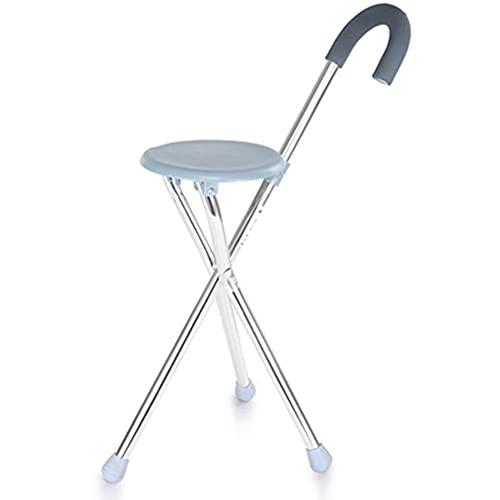 HYHMJ-Bastón Plegable Durable Baston Silla - Cacha Espuma Y Reforzado Aleación De Aluminio Discapacitados Portátil Apoyo Tres Patas Taburete Muleta,Azul ⭐