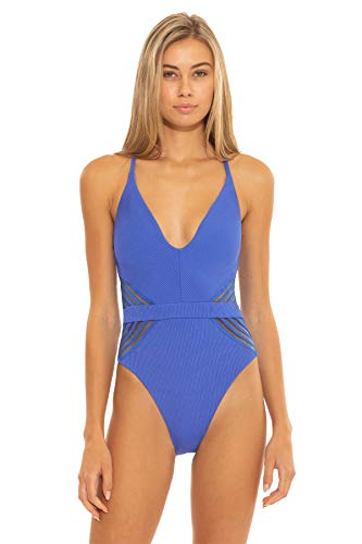 ISABELLA ROSE Women's Queensland Rib High Leg One Piece Swimsuit Blue S