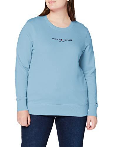 Tommy Hilfiger Damen Th ESS Hilfiger C-nk Sweatshirt Pullover, Columbia Blue, XL