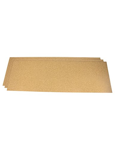 Kastbekleding (kastpapier) van kurk, ca. 61 x 30 cm, 1,6 mm dik - 3 stuks