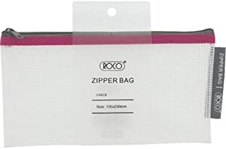 Roco RQ-FB8065PNK Topload Opening Document Pouch, Clear-Pink Accent