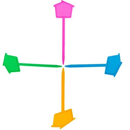 JpGdn 50 pcs 13,2 x 5,6 cm Plastique étanche Plante Chambre d'enfant Fleur Jardinage Petite Maison bonsaï Jardin Piquets réutilisable T Label (Jaune Bleu Vert Rose)