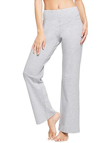 BALEAF Women's Bootcut Regular/Tall High Waisted 34' Yoga Pants Bootleg Workout Indoor Pants Inner Pocket Light Gray Size S