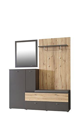FORTE Como Garderobe 1 Sitzpolster mit 2 Türen und 3 Schubkästen, Holz, grau + sandeiche, 170 x 41.3 x 200.7 cm