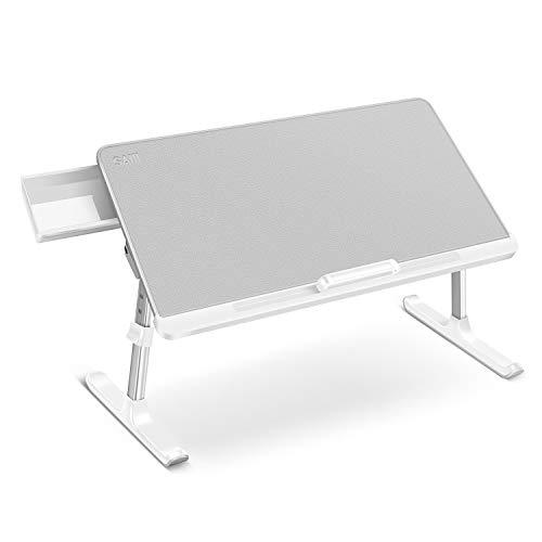 テーブル 机 SAIJI ミニテーブル ローテーブル 折りたたみ 60×32cm 脱着不要 角度 高さ調整 引き出し付き 40kg荷重 表面PVC革加工 K7-M 軽量 勉強 パソコンデスク 子供食事 (グレー, 60*32cm)