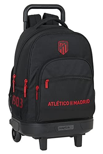 Safta Mochila Escolar con Carro Incluido y Espalda Acolchada de Atlético de Madrid Corporativa, 330x220x450 mm, Negro