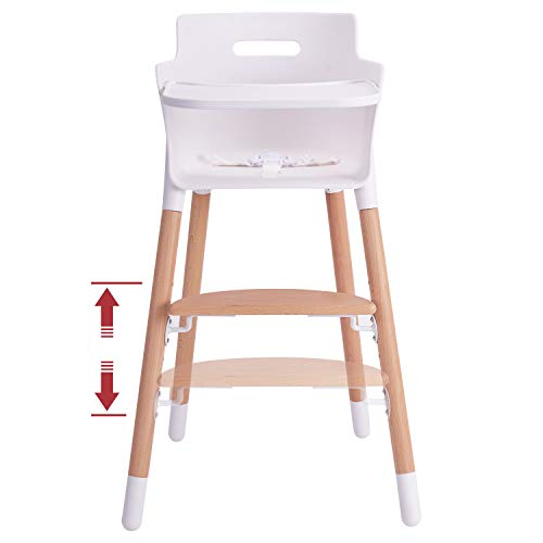 Wooden Baby High Chair | High Chair for Babies and Toddlers | 3-in-1 Baby High Chair Grows up with Family | Highchair with Adjustable Footrest and Removable Tray