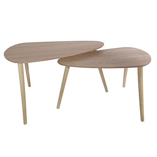 THE HOME DECO FACTORY CMHD6150 Set 2 MESAS Nido Madera, Kiefernholz, Beige, One Size