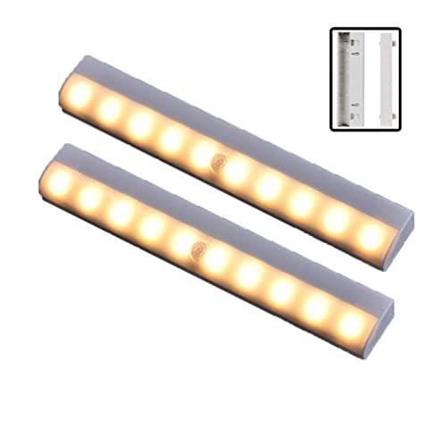 ZHANGDA 2Ps LED Motion Sensor Cabinet Light,Under Counter Closet Lighting, 10-LED Kitchen Lights,Battery Powered Operated Light, Stick On Lights for Cupboard