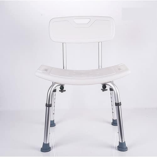 Silla de ducha con espalda removible, asiento de ducha ajustable de trabajo pesado 260 kg - Taburete de bañera antideslizante libre de herramientas for ancianos, senior, handicap y deshabilitado